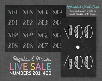 Live Sale Number Cards, Reverse Numbers, Facebook Live Number, Facebook Live Sale - Numbers 201 - 400
