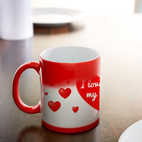 Magic Love Mug - Colour Changing Mug - Heat to Reveal Message - I Love You My Dear