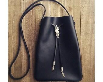 Black Leather bag - Drawstring leather bag - small leather Crossbody Bag - genuine leather bag - black leather tote - small leather pouch