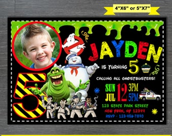 Ghostbusters Invitation, Ghostbusters Birthday Invite,Ghostbusters Birthday Invitation,Ghostbusters Party Invite, Slimer Party