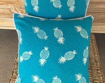 Pair Aqua & White Tropical Pineapple Cushions Covers