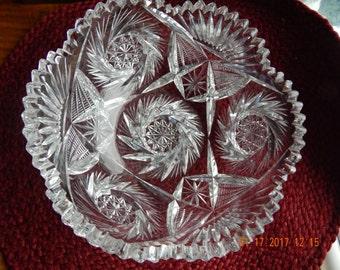 Vintage American Brilliance Cut Crystal 8 inch Bowl-with Hobstar Pinwheels and Sawtooth Edge