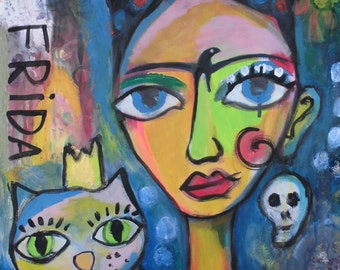 Postcard Frida Kahlo 52 mixed media free shipping
