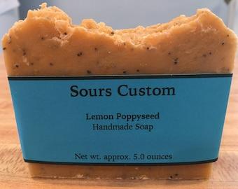 Lemon Poppyseed Bar, Lemon, Poppyseed, Lemon Soap, Handmade soap, Lemon Essential Oil, Exfoliating Soap