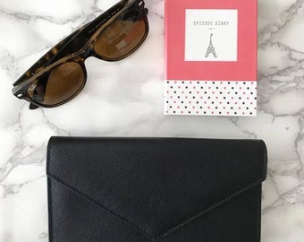 Women's Wallet / Clutch in Black Saffiano Leather (No monogramming available on this item)