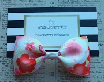 Cherry Blossom Hair Bow, flower hair bow, hair accessories, girls hair bows, party favors