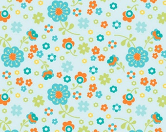 Floral Cotton Fabric, Riley Blake Fabric, Dress Up Days, Modern Quilt Fabric by Yard, Spring Flower Fabric, Aqua Orange Flowers