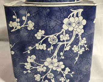 "VINTAGE Blue with White Cherry Blossom Flowers ""TIN BOX"" made in England"