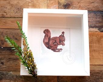 Watercolor Brown Squirrel Art