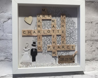 personalised wedding gift-wedding shadow box art-mr and mrs-anniversary gift-scrabble tiles-wall art-custom wedding-valentines gift-