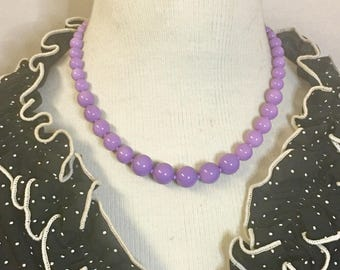 Darling - Retro inspired graduated glass bead necklace in luscious lilac purple by Seditious Jewelry