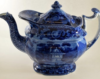 SALE!!  Historic Staffordshire Blue and White Teapot     317