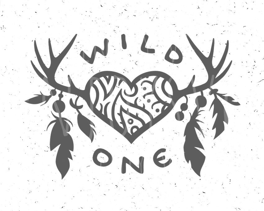 Wild One Svg Feathers Svg Wild One Svg File Horns Svg Baby