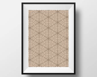 GEOMETRIC TILE, Black and Beige, Wall Textile, Geometric Pattern, Tile Pattern, Hexagon Design, Wall Art, Art Print, Poster Set, Download