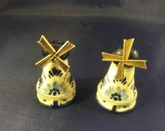 Delft Salt and Pepper Shakers With Metal Spinning Blades