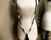 Faux Marble, Gold, and Black Bead Tassel Necklacee