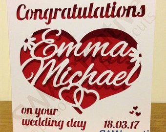 Personalised Wedding Day Paper Cut Greetings Card  |  Congratulations on your wedding day  |  Heart Design