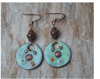 Simply copper enameled copper earrings