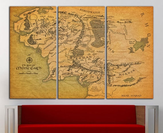Tolkien Map wall art Middle Earth wall decor Tolkien Map
