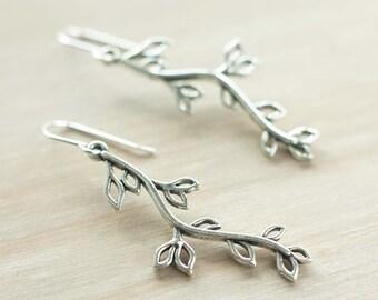 Long dangling willow earrings | Sterling silver leaf earrings | Antique silver tree branch earrings | Boho vine earrings | Hypoallergenic