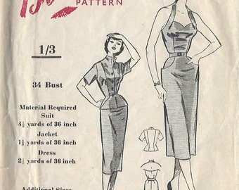"1950s Vintage Sewing Pattern B34"" DRESS & JACKET (01) Blackmore 8562"