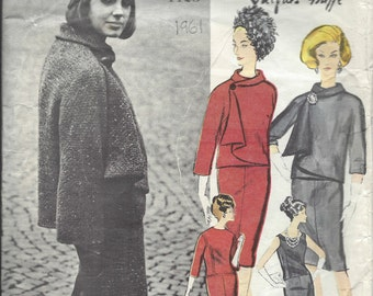 1961 Vintage Vogue Sewing Pattern B31 Dress & Jacket (1339) By JACQUES GRIFFE