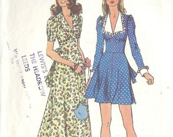 1971 Vintage Sewing Pattern B36 DRESS (1471) Simplicity 5728