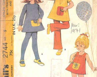 "1971 Childrens Vintage Sewing Pattern S5 B24"" DRESS & PANTS (C17)"