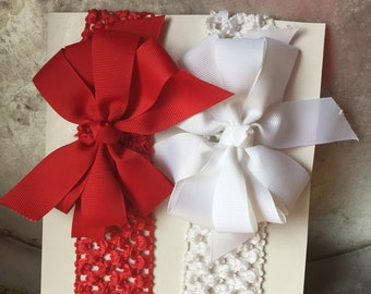 Two red and white grosgrain ribbon hair bow headbands