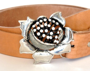 Rhinestone 3D flower belt buckle for 4 cm - 1 1/2 inches belt / Silver buckle