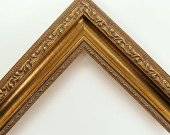 """Gold Ornate Picture Frame for Art, Print or Photo Gold Wood Frame Custom Made 2"""" Wide Scoop Profile Choose Size, Glass & Back Available"""