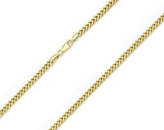 "10K Yellow Gold Hollow Franco Necklace Chain 2.0mm 18-30"" - Box Link"