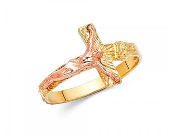 14K Solid Yellow Rose Gold Sideways Crucifix Cross Ring - INRI Jesus Religious Band Women's Men's