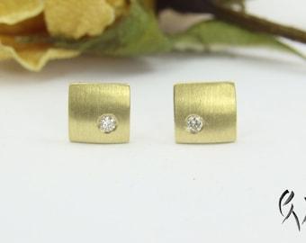 Earrings gold 585 with brilliant, mini square Matt dash, handmade