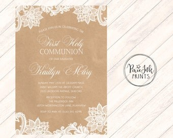 Lace & Kraft Communion Invitation, Lace 1st Communion Invitation, Kraft Communion Invitation, Kraft Paper Lace Printable, Lace Invite