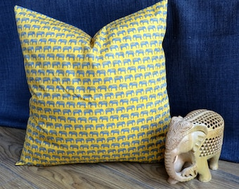 Blue Elephants on Parade 18 inch Cushion/pillow High Quality