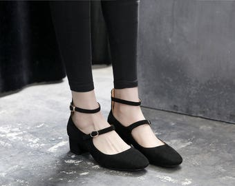 Black Suede Mary Janes with Block Heel and Square Toe