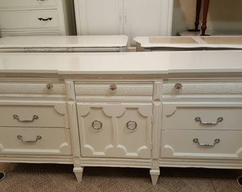 Sold Rustic glam dresser Hollywood Regency dressers shabby chic distressed dresser