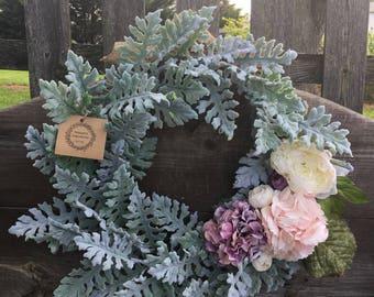 Spring wreath summer wreath shabby chic wreath peony wreath hydrangea wreath door wreath housewarming gift dusty miler wreath