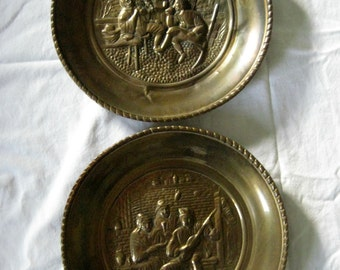 Vintage Brass Pair of Hanging Plates, Pub, Tavern Scene, High Relief Embossed, Lombard England