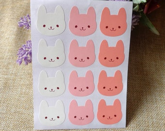Stickers 36 pieces set in 3 colours with drawing cats