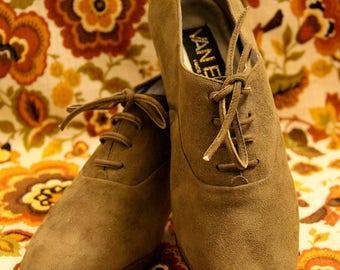 VAN ELI Suede Olive Green Tie Shoes