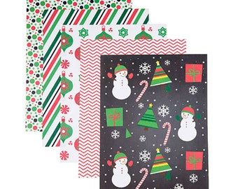 Patterned 8.5x11 Cardstock Paper Pack, Merry and Bright Prints, 25 Sheets
