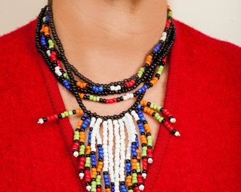 Multicolor beaded necklace.