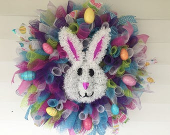 Easter/Spring multi color deco mesh holiday wreath/Front door decor