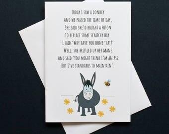 Funny donkey card, funny donkey poem, donkey poem, funny ass card, ass card, futon poem, Sybil the donkey
