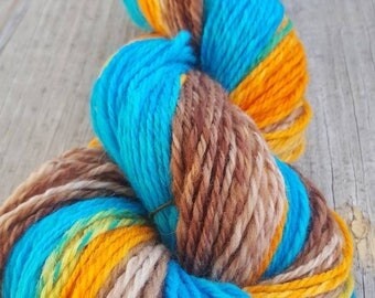 """HANDSPUN YARN- Gradient-dyed Polworth wool spun by me! """"Joanie Loved Chachi"""""""