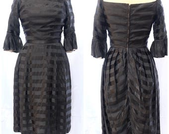 50's black silk dress with Beige contrast and black flounce