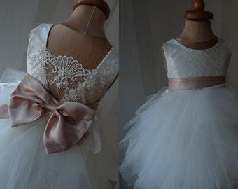 CLEO Ivory Lace Champagne sash Tulle Flower Girl Dress Wedding Bridesmaid Dress