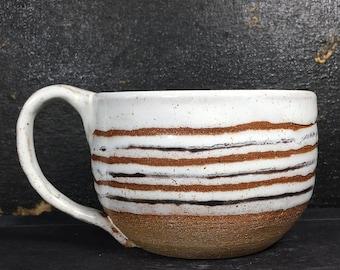 White Ceramic Mug, 8 oz, Handmade Pottery